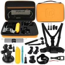 PULUZ 20 in 1 Accessoires Combo Kits met Orange EVA Case (Chest Strap + Head Strap + Suction Cup Mount + 3-Way Pivot Arm + J-Hook Buckles + Extendable Monopod + Tripod Adapter + Bobber Hand Grip + Storage Bag + Wrench) voor GoPro HERO8 Black /7 /6 /5 /5 S