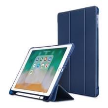 Litchi textuur Flip lederen case voor iPad 9.7 (2017)/9.7 (2018)/Air2/Air  met drie-opklapbare houder & Pensleuven (donkerblauw)
