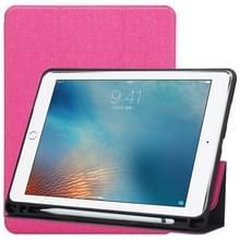 Doek textuur patroon Case voor iPad 9 7 (2018) & iPad 9 7 inch (2017)  met drie-opvouwbare houder & Pensleuven (magenta)