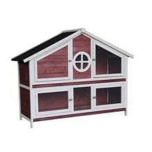 [Amerikaans pakhuis] Houten huisdierenhuis  Grootte: 128x46x110cm(Rood)