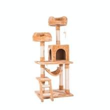 [JPN-magazijn] Multilayer Cat Klimmen Frame Tree Nest Activiteit Tower Pet House  Grootte: 60x50x141cm (Beige)