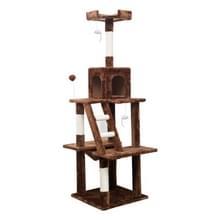 [JPN-magazijn] Multilayer Cat Climbing Frame Tree Nest Activity Tower Pet House  Grootte: 45x45x155cm (Bruin)