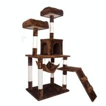 [JPN-magazijn] Multilayer Cat Climbing Frame Tree Nest Activity Tower Pet House  Grootte: 50x50x145cm (Bruin)