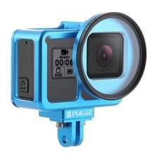 PULUZ behuizing CNC aluminiumlegering beschermende kooi met verzekerings frame & 52mm UV lens voor GoPro HERO7 zwart/6/5 (blauw)