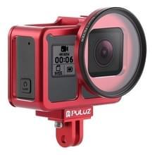 PULUZ behuizing CNC aluminiumlegering beschermende kooi met verzekerings frame & 52mm UV lens voor GoPro HERO7 zwart/6/5 (rood)