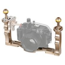 PULUZ dubbele handvatten aluminium legering lade stabilisator voor onderwater camera behuizingen (goud)