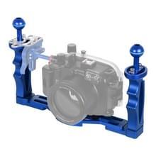 PULUZ dubbele handvatten aluminium legering lade stabilisator voor onderwater camera behuizingen (blauw)