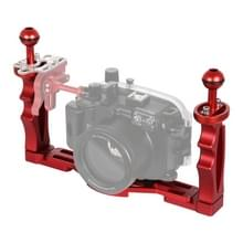 PULUZ dubbele handvatten aluminium legering lade stabilisator voor onderwater camera behuizingen (rood)