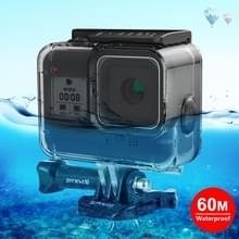 PULUZ 60M onderwater diepte duik koffer waterdichte camera behuizing met zachte knop voor GoPro HERO8 zwart