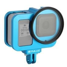 PULUZ voor GoPro HERO8 zwarte behuizing shell CNC aluminiumlegering beschermende kooi met verzekerings frame & 52mm UV-lens (blauw)