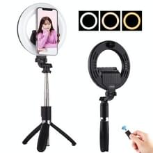 PULUZ 5.0 inch 12.7cm Ring LED Live Broadcast Vlogging Selfie Light + Bluetooth Selfie Stick Tripod Mount (Zwart)