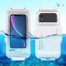 PULUZ 45m waterdichte duiken huisvesting foto video nemen onderwater Cover Case voor iPhone 11  iPhone X  iPhone 8 & 7  iPhone 6 & 6S  iOS 13 1 of ouder versie iPhone (wit)