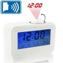 Geluidsgestuurde spreektijd Projectieklok met kalender en temperatuur LCD-scherm (wit)
