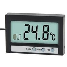 Dubbele manier (Indoor en Outdoor) LCD Digitale Thermometer met klok Display functie  TM-2 (zwart)