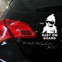 Baby aan boord patroon vinyl auto sticker  grootte: 20cm x 13cm (wit)