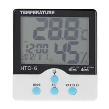 HTC-6 digitale Indoor lichtgevende heeft en Fahrenheit Thermometer & Hygrometer met Screen Display & datum & klok