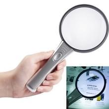 Handige 3 X & 4 X Vergrootglas met 2 LED-Light(Silver)