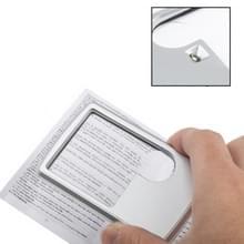 1 LED verlichte creditcard Design 6 X / 3 X sieraden Magnifier(Silver)