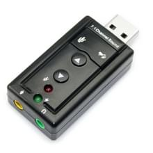 Externe USB 2.0 7.1 kanaals 3D Virtuele Audio geluidskaart Adapter(zwart)