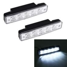 2 stks 5 LED wit licht overdag Running licht lamp voor auto (zwart)