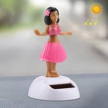 Zonne-aangedreven bobbel hoofd dansen speelgoed auto decoratie Ornament schattig Hula Princess(Pink)