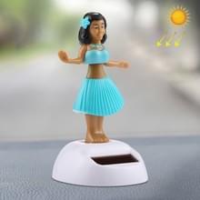 Zonne-aangedreven bobbel hoofd dansen speelgoed auto decoratie Ornament schattig Hula Princess(Blue)