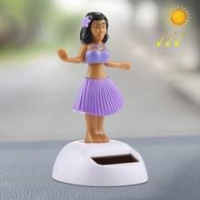 Zonne-aangedreven bobbel hoofd dansen speelgoed auto decoratie Ornament schattig Hula Princess(Purple)