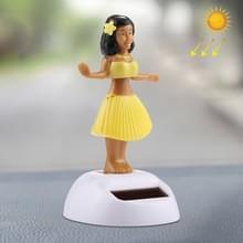 Zonne-aangedreven bobbel hoofd dansen speelgoed auto decoratie Ornament schattig Hula Princess(Yellow)