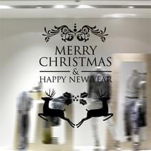 Decor van het huis Merry Christmas gelukkig Nieuwjaar verwisselbare Wall Stickers  grootte: 58cm x 58cm(Black)