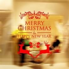 Decor van het huis Merry Christmas gelukkig Nieuwjaar verwisselbare Wall Stickers  grootte: 58cm x 58cm(Red)