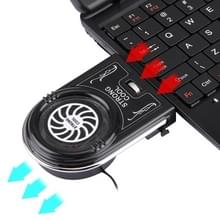 Laptop Notebook Cooling Pad Mute Air uitpakken Cooling Fan Turbo hitte Radiator met Appropriative Band Tape stijl USB-Kabel(zwart)