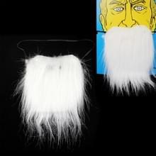 Witte borstelige snor nep baard met elastische band (wit)