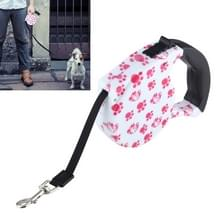 5m roze hond voetafdruk patroon eenvoudige bediening intrekbare leiband (roze)