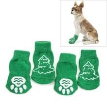 Leuke kerstboom patroon katoen antislip huisdier kerst sokken  maat: S (groen)