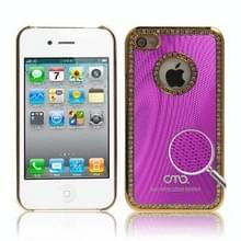 iPhone 4 & 4S met nep diamanten ingelegd Kunststof OMO back cover Hoesje (hard roze)