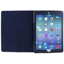 Litchi structuur Flip lederen hoesje met houder voor iPad Air  (donker blauw)