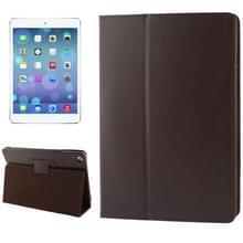 Litchi structuur Flip lederen hoesje met houder voor iPad Air    (bruin)