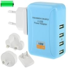 4x USB power adapter reis oplader met 4 gemakkelijk aanpasbare stroom connectors voor ipad mini / mini 2 retina / new ipad (ipad 3) / ipad 2 / iphone 5 / iphone 4 & 4s / 3gs / ipod / pda / ps vita / samsung galaxy tab  blauw