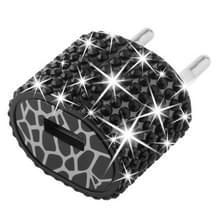 EU stekker met nep-diamanten ingelegde reis oplader voor iphone / ipad / ipod / samsung / sony ericsson / nokia / lg  5v / 1a (zwart)