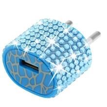 EU stekker met nep-diamanten ingelegde reis oplader voor iphone / ipad / ipod / samsung / sony ericsson / nokia / lg  5v / 1a (blauw)