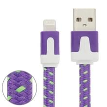 Geweven nylon stijl 8 Pin naar USB Data / laad Kabel  Kabel lengte: 1 meter  Compatibel met IOS 8(paars)