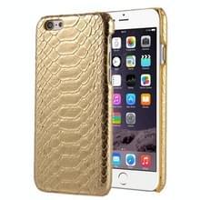 Slangenhuid textuur Hard terug dekking terug beschermhoes voor iPhone 5(Gold)
