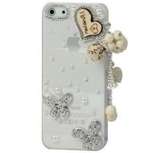 iPhone 5 & 5S & SE met nep diamanten ingelegd I LOVE YOU met parel hanger patroon Kunststof back cover Hoesje