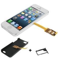 3 in 1 (kiwibird Q-SIM Dual SIM kaart multi-SIM kaart + plastic case + lade houder) voor iPhone 5 (zwart)