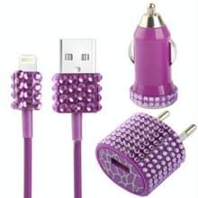 3 in 1 (autolader + EU stekker travel laad + USB kabel) 5v / 1a met nep-diamanten ingelegde oplader reis kit voor iphone 5 / ipod touch 5, paars