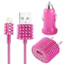 3 in 1 (Autolader + EU stekker travel laad + USB kabel) 5v / 1A met nep-diamanten ingelegde laad travel kit voor iphone 5 / ipod touch 5, magenta