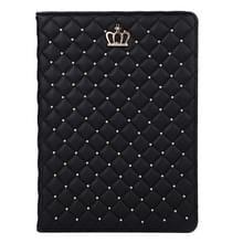 iPad Air 2 / iPad 6 horizontaal Plaid en kroontje structuur PU leren Hoesje met houder (zwart)