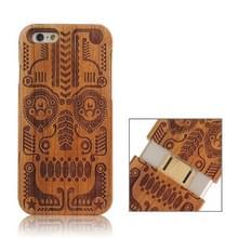 iPhone 6 & 6S Tribal Totem patroon deelbaar Houten back cover Hoesje