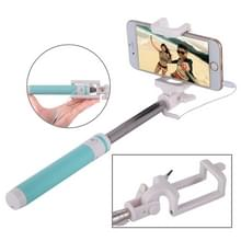 Portable Wire Controlled Macarons Selfie Stick Monopod Folding Extendable Pocket Handheld Holder  For iPhone  Galaxy  Huawei  Xiaomi  LG  HTC and Other Smart Phones  Folded Length: 18.9cm  Max Extension Length: 81.6cm(Green)