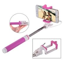 Portable Wire Controlled Macarons Selfie Stick Monopod Folding Extendable Pocket Handheld Holder  For iPhone  Galaxy  Huawei  Xiaomi  LG  HTC and Other Smart Phones  Folded Length: 18.9cm  Max Extension Length: 81.6cm(Magenta)